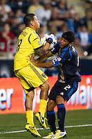Carlos Valdes (2) of the Philadelphia Union collides with Real Salt Lake goalkeeper Nick Rimando (18). The Philadelphia Union and Real Salt Lake played to a 0-0 tie during a Major League Soccer (MLS) match at PPL Park in Chester, PA, on August 24, 2012.