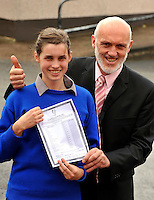 Caoimhe Bonner who got 11's in her junior cert pictured at Milltown Secondary with her dad Cormac, (who holds two All-Ireland hurling medals with Tipperary and  is principal at the school on Wednesday.<br /> Picture by Don MacMonagle