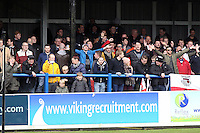 Grimsby Town fans during the Vanarama National League match between Dover Athletic and Grimsby Town at the Crabble Athletic Ground, Dover, England on 16 April 2016. Photo by Tony Fowles/PRiME Media Images.