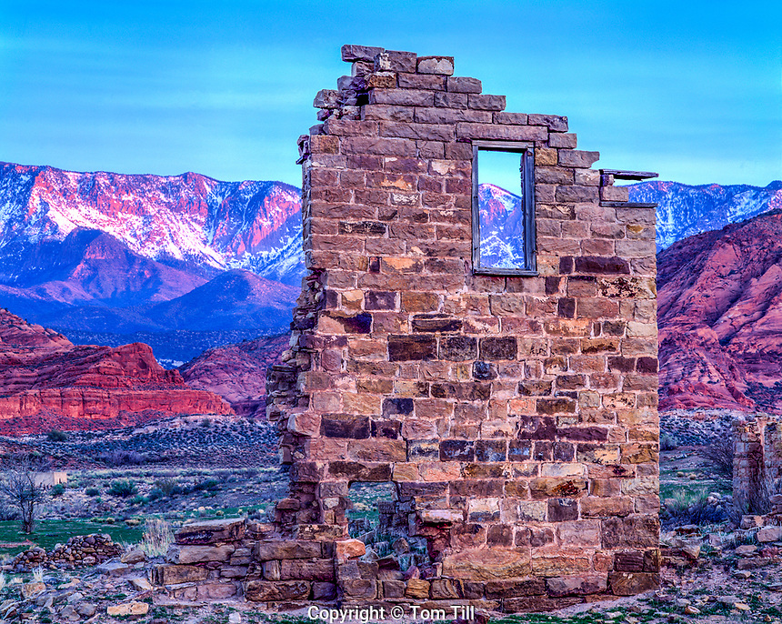 Ruins of Harrisburg Ghost Town, Quail Creek, Utah   Pine Valley Mountains beyond  Near St. George  Pioneer Mormon village