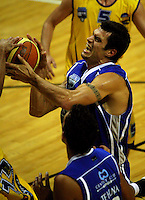 Arthur Trousdell fights for the ball during the NBL Basketball match between Wellington Saints and Otago Nuggets at TSB Bank Arena, Wellington, New Zealand on Sunday, 30 March 2008. Photo: Dave Lintott / lintottphoto.co.nz