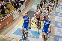 Team presentation of Elia Viviani (ITA/Deceuninck-QuickStep) & Iljo Keisse (BEL/Deceuninck-QuickStep)<br /> <br /> Lotto 6daagse Vlaanderen-Gent 2018 / Gent6<br /> day 5