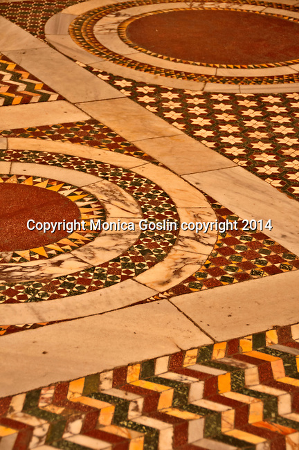 Detail of the floor in Basilica of Our Lady in Trastevere in Rome, Italy