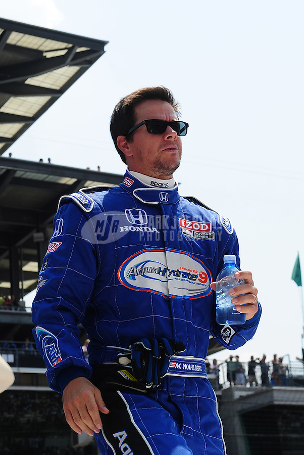 May 30, 2010; Indianapolis, IN, USA; Movie actor Mark Wahlberg during the Indianapolis 500 at the Indianapolis Motor Speedway. Mandatory Credit: Mark J. Rebilas-