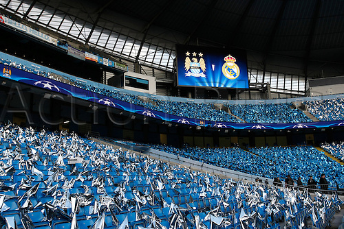 26.04.2016. The Etihad, Manchester, England. UEFA Champions League. Manchester City versus Real Madrid. A general view of Manchester City's Etihad Stadium with flags on the seat of every City fan before tonight's game.