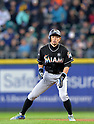Ichiro Suzuki (Marlins),<br /> APRIL 19, 2017 - MLB :<br /> Ichiro Suzuki of the Miami Marlins leads off of first base during the Major League Baseball game against the Seattle Mariners at Safeco Field in Seattle, Washington, United States. (Photo by AFLO)