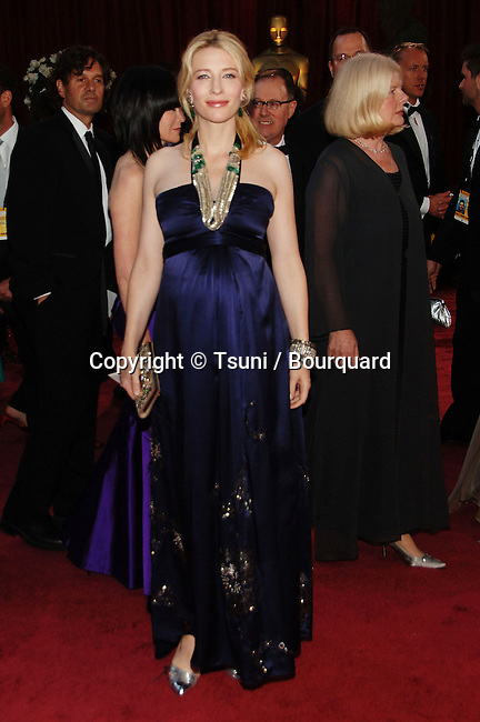 Cate Blanchett<br /> 80th Oscars ceremony, arrival, red carpet at the Kodak Theatre In Los Angeles.<br /> <br /> <br /> full length<br /> eye contact<br /> smile