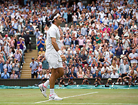 Roger Federer (3) of Switzerland celebrates his victory over Tomas Berdych of Czech Republic in their Men's Singles Semi Final Match today - Federer def Berdych 7-6, 7-6, 6-4<br /> <br /> Photographer Ashley Western/CameraSport<br /> <br /> Wimbledon Lawn Tennis Championships - Day 11 - Friday 14th July 2017 -  All England Lawn Tennis and Croquet Club - Wimbledon - London - England<br /> <br /> World Copyright &not;&copy; 2017 CameraSport. All rights reserved. 43 Linden Ave. Countesthorpe. Leicester. England. LE8 5PG - Tel: +44 (0) 116 277 4147 - admin@camerasport.com - www.camerasport.com