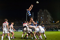 Elliott Stooke of Bath Rugby rises high to win lineout ball. Anglo-Welsh Cup match, between Bath Rugby and Leicester Tigers on November 10, 2017 at the Recreation Ground in Bath, England. Photo by: Patrick Khachfe / Onside Images