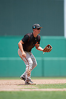 GCL Orioles third baseman Jared Gates (18) during a game against the GCL Red Sox on August 9, 2018 at JetBlue Park in Fort Myers, Florida.  GCL Red Sox defeated GCL Orioles 10-4.  (Mike Janes/Four Seam Images)