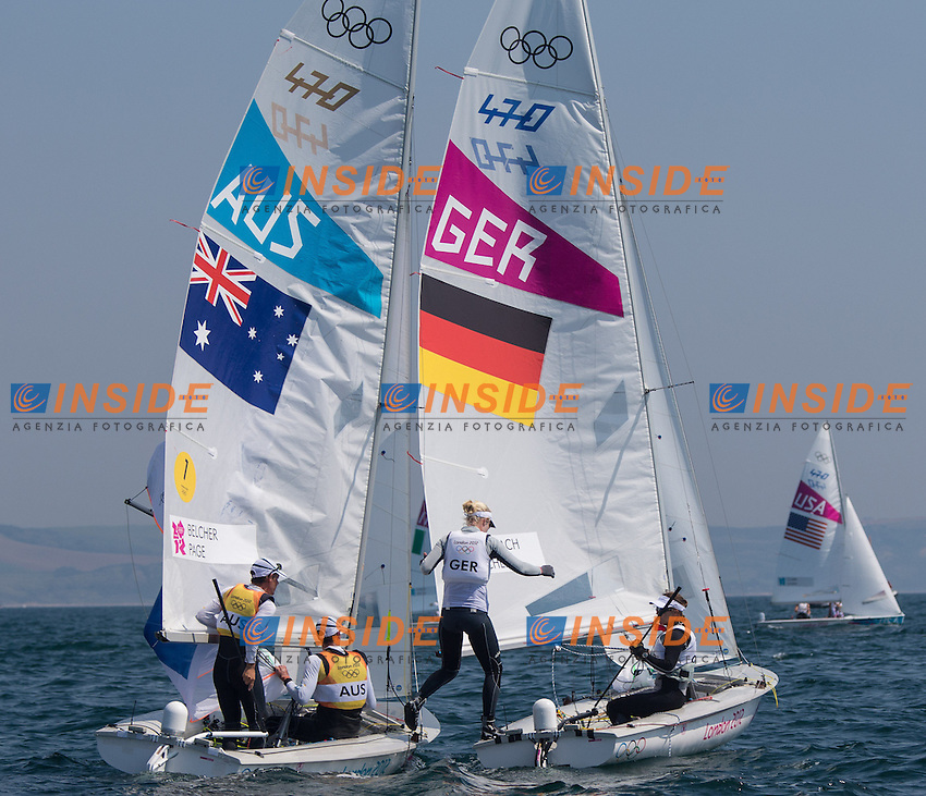 Mathew Belcher, Malcolm Page (AUS); Friederike Belcher, Kathrin Kadelbach (GER) during Sailing men's medal race 470er at the 2012 Summer Olympics at Bay of Weymouth, United Kingdom on 2012/08/10. . PhotoCredit: Insidefoto / EXPA/ Johann Groder ..Italy Only