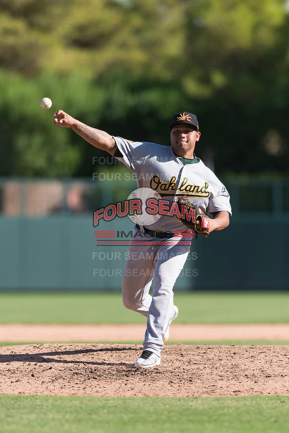 Mesa Solar Sox relief pitcher Angel Duno (79), of the Oakland Athletics organization, delivers a pitch during an Arizona Fall League game against the Glendale Desert Dogs at Camelback Ranch on October 15, 2018 in Glendale, Arizona. Mesa defeated Glendale 8-0. (Zachary Lucy/Four Seam Images)