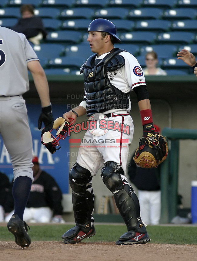 April 21, 2004:  Catcher Jake Fox of the Lansing Lugnuts, Low-A Midwest League affiliate of the Chicago Cubs, during a game at Oldsmobile Park in Lansing, MI.  Photo by:  Mike Janes/Four Seam Images