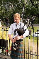 Man playing bagpipes, Edinburgh, Scotland
