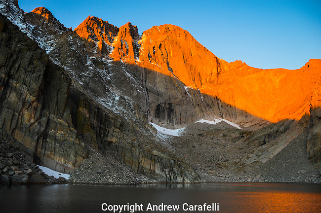 Sitting at almost 12,000 feet, Chasm Lake sits beneath the imposing east face of 14, 259 foot high Long's Peak in Rocky Mountain National Park, Colorado.