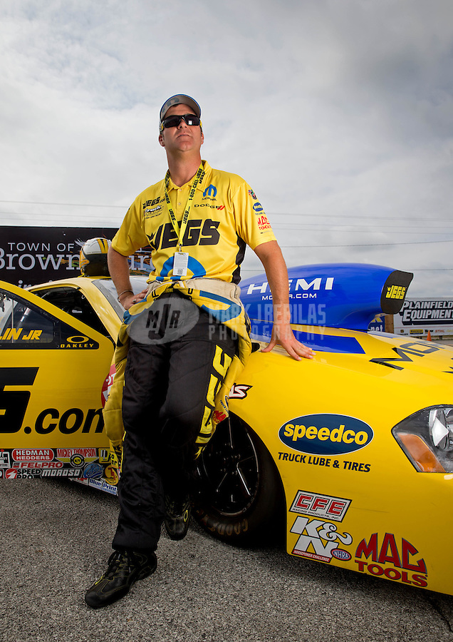 Sept. 1, 2013; Clermont, IN, USA: NHRA pro stock driver Jeg Coughlin during qualifying for the US Nationals at Lucas Oil Raceway. Mandatory Credit: Mark J. Rebilas-