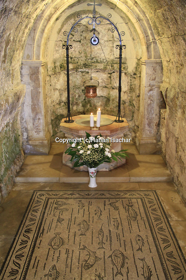Israel, Jerusalem, an ancient water well at the Church of the Visitation in Ein Karem