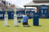 Fran Caffrey (Golffile) taking a photo of the Claret Jug on show at the 1st tee during the Pro-Am of the Irish Open at LaHinch Golf Club, LaHinch, Co. Clare on Wednesday 3rd July 2019.<br /> Picture:  Thos Caffrey / Golffile<br /> <br /> All photos usage must carry mandatory copyright credit (© Golffile | Thos Caffrey)