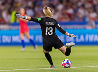 LYON,  - JULY 2: Carly Telford #13 punts the ball during a game between England and USWNT at Stade de Lyon on July 2, 2019 in Lyon, France.