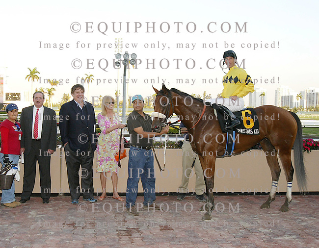 Christmas Story in the Winners Circle at Gulfstream Park after winning the Davona Dale Stakes.  PHoto By EQUI-PHOTO. 2/10/07