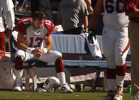 Sep 25, 2005; Seattle, WA, USA; Arizona Cardinals quarterback #13 Kurt Warner sits on the bench after being hurt by the Seattle Seahawks in the second quarter at Qwest Field. Mandatory Credit: Photo By Mark J. Rebilas