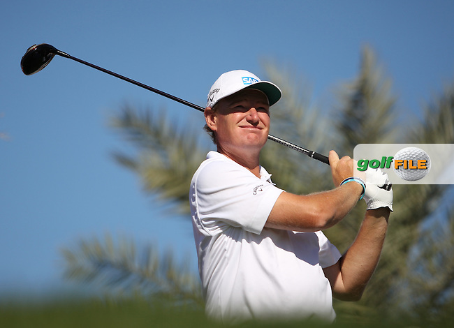 Ernie Els (RSA) on the 2nd tee during the second round at the Abu Dhabi HSBC Golf Championship in the Abu Dhabi golf club, Abu Dhabi, UAE..Picture: Fran Caffrey/www.golffile.ie.