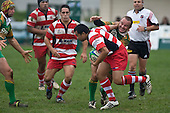 Baden Kerr attempts to push off Pieter Serfontein as Chad Tuoro watches procedings. Counties Manukau Premier Club Rugby game between Drury & Karaka played at the Drury Domain on Saturday April 26th, 2008..Karak won the game 30 -6 after leading 8 -3 at halftime.