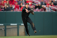 Louisville Cardinals third baseman Tyler Fitzgerald (2) makes a throw to first base against the North Carolina State Wolfpack at Doak Field at Dail Park on March 24, 2017 in Raleigh, North Carolina.  (Brian Westerholt/Four Seam Images)
