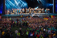Camp song played at the big stage at the IST opening ceremony. Photo: Magnus Fröderberg/Scouterna