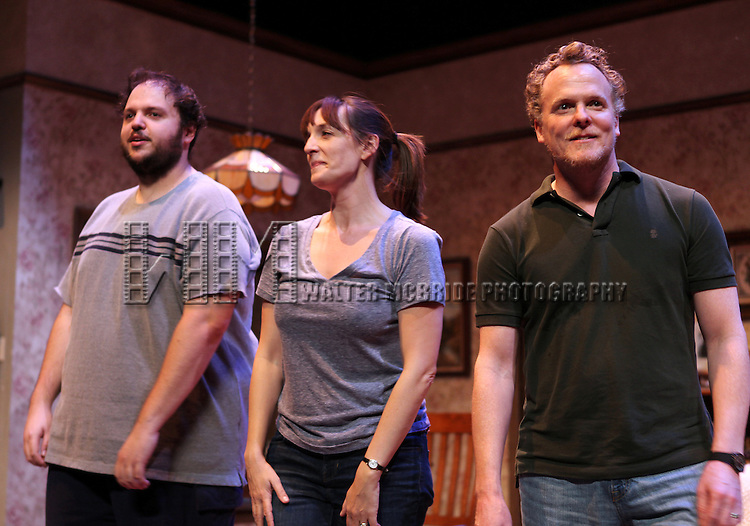 Daniel Everidge, Julia Murney and Daniel Pearce during the Off-Broadway Opening Night Performance Curtain Call for 'Falling' at Minetta Lane Theatre on October 15, 2012 in New York City.