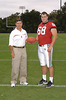 7 August 2006: Stanford Cardinal head coach Walt Harris and Bobby Dockter during Stanford Football's Team Photo Day at Stanford Football's Practice Field in Stanford, CA.