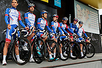 Groupama-FDJ on stage at the team presentation before Stage 1 of the Criterium du Dauphine 2019, running 142km from Aurillac to Jussac, France. 9th June 2019.<br /> Picture: Colin Flockton | Cyclefile<br /> All photos usage must carry mandatory copyright credit (© Cyclefile | Colin Flockton)
