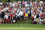 DES MOINES, IA - AUGUST 19: Europe's Mel Reid chips from the back of the 15th green to the hole in her match at the 2017 Solheim Cup in Des Moines, IA. (Photo by Dave Eggen/Inertia)