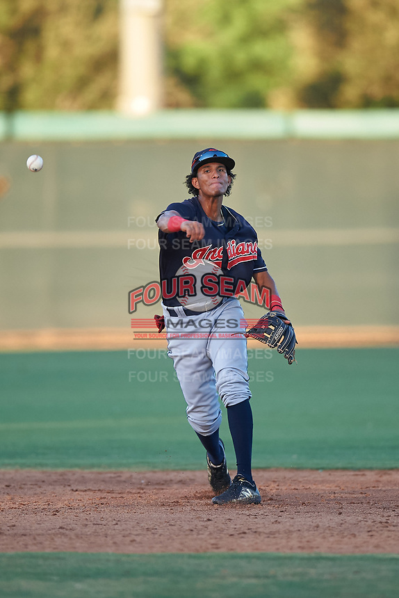 AZL Indians Blue shortstop Wilfri Peralta (32) throws to first base during an Arizona League game against the AZL White Sox on July 2, 2019 at Camelback Ranch in Glendale, Arizona. The AZL Indians Blue defeated the AZL White Sox 10-8. (Zachary Lucy/Four Seam Images)