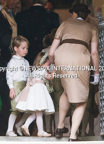 20.05.2017; Englefield, UK: NANNY TO THE RESCUE FOR TEARFUL PRINCESS CHARLOTTE<br /> It was both a moment of tears and joy for Princess Charlotte and Prince George who were flowergirl and page boy respectively at aunt Pippa Middleton's Wedding to James Mathews at St Mark's Church, Englefield.<br /> Also present at the church service were the Duke and Duchess of Cambridge, Prince Harry and Princess Eugenie.<br /> Mandatory Photo Credit: &copy;Francis Dias/NEWSPIX INTERNATIONAL<br /> <br /> IMMEDIATE CONFIRMATION OF USAGE REQUIRED:<br /> Newspix International, 31 Chinnery Hill, Bishop's Stortford, ENGLAND CM23 3PS<br /> Tel:+441279 324672  ; Fax: +441279656877<br /> Mobile:  07775681153<br /> e-mail: info@newspixinternational.co.uk<br /> Usage Implies Acceptance of OUr Terms &amp; Conditions<br /> Please refer to usage terms. All Fees Payable To Newspix International