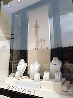 France. Paris. View on Place Vendôme and the Bulgari jeweller's shop. The Place Vendôme is a square in the 1st arrondissement. Its regular architecture by Jules Hardouin-Mansart and pedimented screens canted across the corners give the rectangular Place Vendôme the aspect of an octagon. The Place Vendôme Column at the centre was erected by Napoleon to commemorate the battle of Austerlitz. 20.05.09  © 2009 Didier Ruef