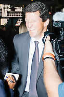 """Jay Faison, Founder and CEO of ClearPath Foundation, speaks with CSX How Tomorrow Votes high school student journalist Maya Logan (left) after being on a panel put on by the Washington Post called """"Party Platform: Energy and Environment,"""" at Butcher and the Brewer outside the Republican National Convention in Cleveland, Ohio, on Tues., July 19, 2016."""