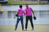 Brooks Koepka (USA) shakes hands with C.T. Pan (TAI) following round 4 of The Players Championship, TPC Sawgrass, at Ponte Vedra, Florida, USA. 5/13/2018.<br /> Picture: Golffile | Ken Murray<br /> <br /> <br /> All photo usage must carry mandatory copyright credit (&copy; Golffile | Ken Murray)