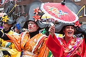 Düsseldorf, Germany. 27 February 2017. Members of carnival club KG Regenbogen. Carnival parade on Shrove Monday (Rosenmontag) in Düsseldorf, North Rhine-Westphalia, Germany.