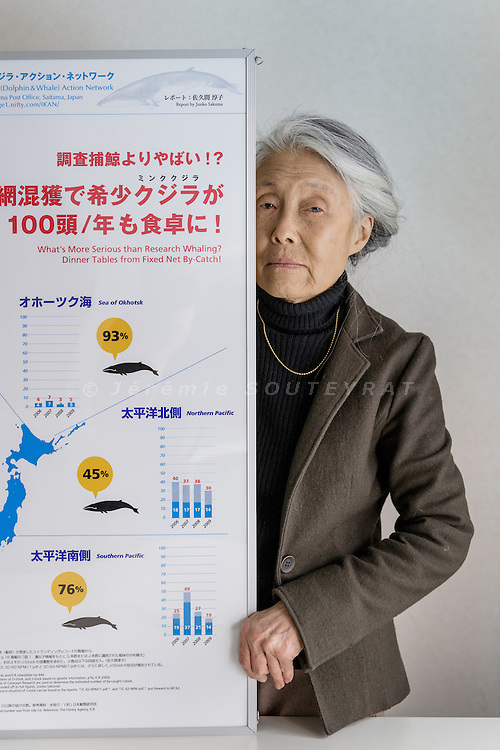 Nerima ward, Tokyo, Japan, March 15 2016 - Portrait of Nanami Kurasawa, executive director of the Japanese whale conservation group IKAN (Iruka & Kujira [Dolphin & Whale] Action Network), at her office.