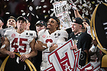 ATLANTA, GA - JANUARY 08: Jalen Hurts #2 of the Alabama Crimson Tide celebrates after defeating the Georgia Bulldogs during the College Football Playoff National Championship held at Mercedes-Benz Stadium on January 8, 2018 in Atlanta, Georgia. Alabama defeated Georgia 26-23 for the national title. (Photo by Jamie Schwaberow/Getty Images)