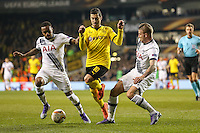 Henrikh Mkhitaryan of Borussia Dortmund (centre) is challenged by Danny Rose of Tottenham Hotspur (left) and Toby Alderweireld of Tottenham Hotspur (right) during the UEFA Europa League match between Tottenham Hotspur and Borussia Dortmund at White Hart Lane, London, England on 17 March 2016. Photo by David Horn / PRiME Media Images