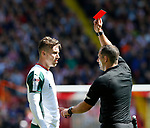 Red card for Angus MacDonald of Barnsley during the Championship League match at Bramall Lane Stadium, Sheffield. Picture date 19th August 2017. Picture credit should read: Simon Bellis/Sportimage