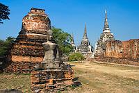 Thailand, Phra Nakhon Si Ayutthaya: Ayutthaya Historical Park, ruined temple of historic former capital | Thailand, Phra Nakhon Si Ayutthaya: Geschichtspark Ayutthaya, Tempelruinen der frueheren Hauptstadt