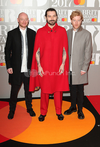Biffy Clyro at The BRIT Awards 2017 at The O2, Peninsula Square, London on February 22nd 2017<br /> CAP/ROS<br /> &copy; Steve Ross/Capital Pictures /MediaPunch ***NORTH AND SOUTH AMERICAS ONLY***