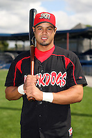 August 26 2008:  Edwin Gomez of the Batavia Muckdogs, Class-A affiliate of the St. Louis Cardinals, during a game at Dwyer Stadium in Batavia, NY.  Photo by:  Mike Janes/Four Seam Images
