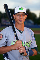 Vermont Lake Monsters outfielder Steven Pallares (14) poses for a photo before the second game of a doubleheader against the Batavia Muckdogs August 11, 2015 at Dwyer Stadium in Batavia, New York.  Batavia defeated Vermont 1-0.  (Mike Janes/Four Seam Images)
