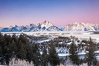 Winter sunrise at the Snake River Overlook in Grand Teton National Park. A crisp -8 degree morning made this morning glow.<br />