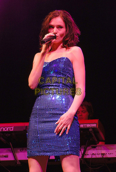 SOPHIE ELLIS BEXTOR.Performing live at the 2007 V Festival, Hylands Park, Chelmsford, England..August 19th, 2007.half length stage concert live gig performance music singing blue strapless sequins sequined dress .CAP/ BEL.©Tom Belcher/Capital Pictures.