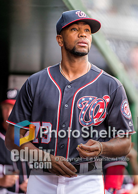 22 July 2016: Washington Nationals pitcher Felipe Rivero looks out from the dugout prior to a game against the San Diego Padres at Nationals Park in Washington, DC. The Padres defeated the Nationals 5-3 to take the first game of their 3-game, weekend series. Mandatory Credit: Ed Wolfstein Photo *** RAW (NEF) Image File Available ***